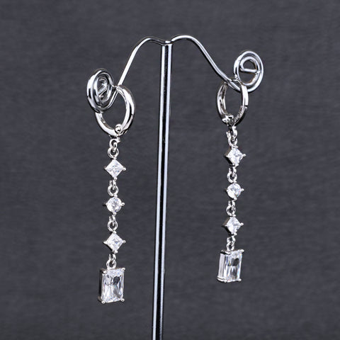 Antique Silver Plated Rectangle Earrings