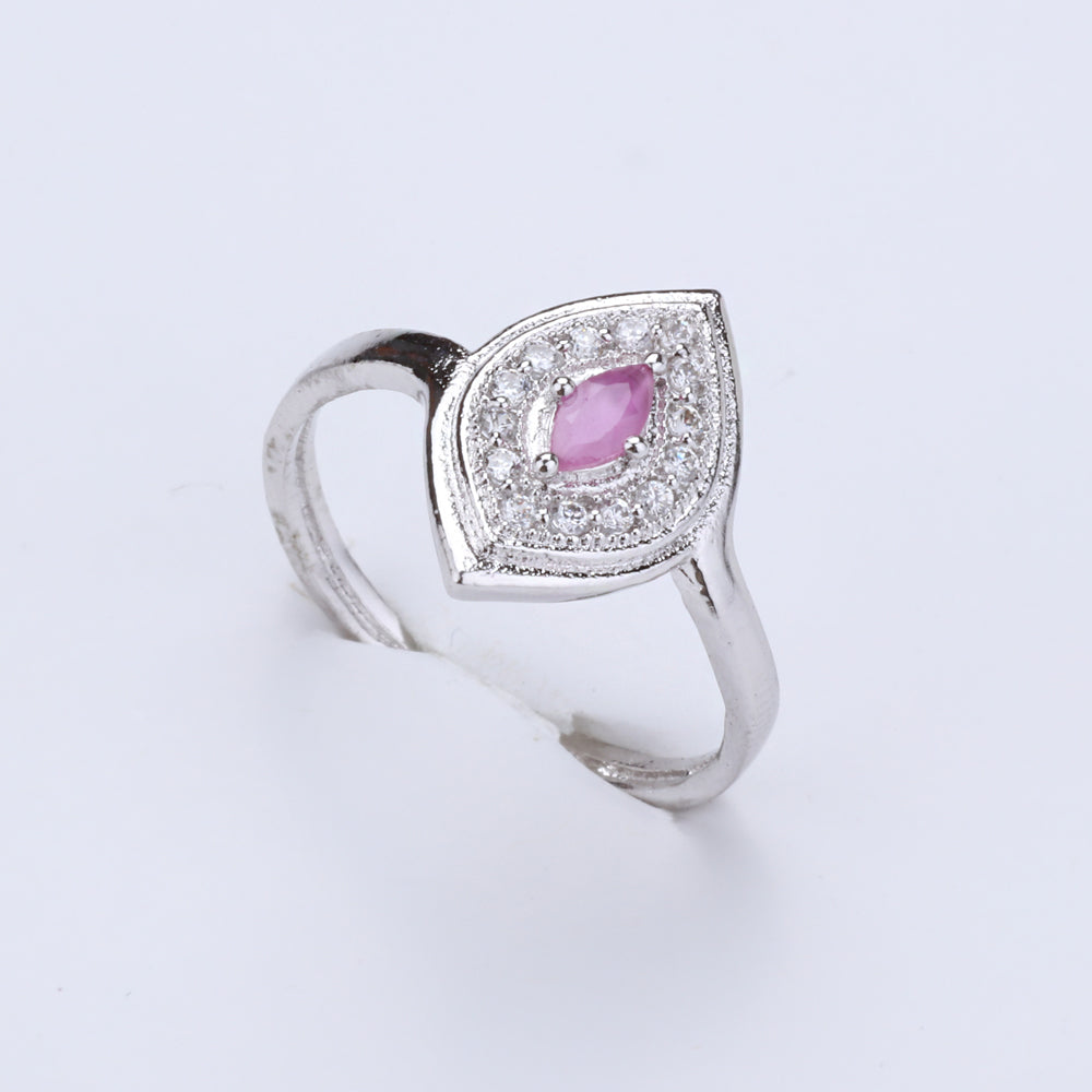 Antique Silver Plated Oval Shape Pink and White Designer Ring