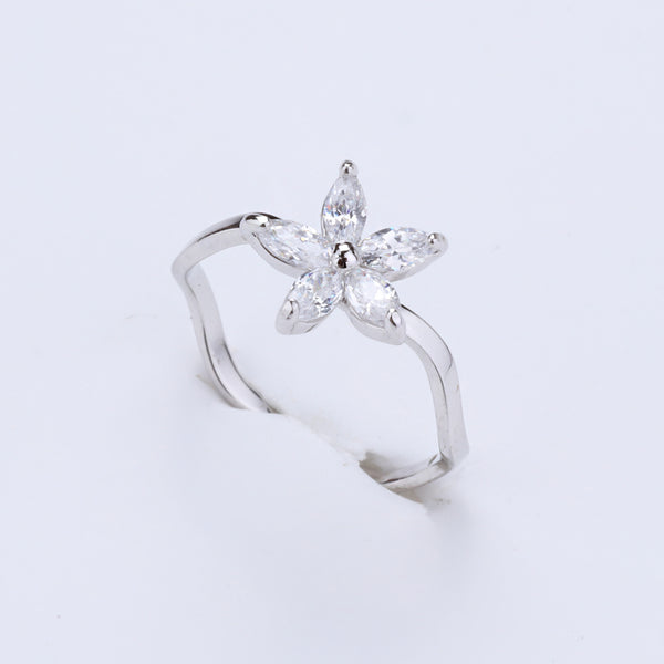 Antique Silver Plated Flower Shape AD Designer Ring