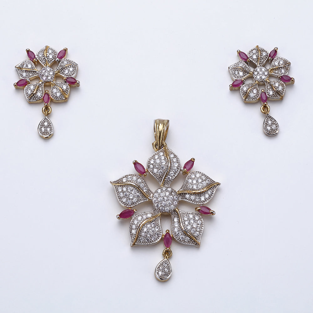 Antique Silver Plated Pink Flower Pendant Set with Earrings