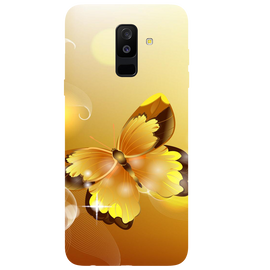 Golden Butterfly Printed Case Cover For Samsung A6 Plus by Mobiflip