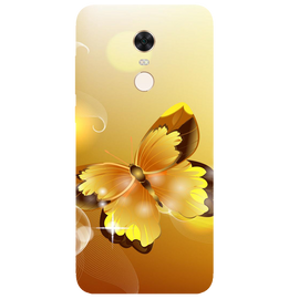 Golden Butterfly Printed Case Cover For Redmi 5 Plus by Mobiflip