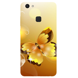 Golden Butterfly Printed Case Cover For VIVO V7 Plus by Mobiflip