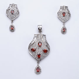 Antique Silver Plated Pink Rich Look Pendant Set with Earrings