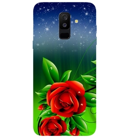 Red Rose Printed Case Cover For Samsung A6 Plus by Mobiflip