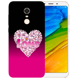 Flower Heart Printed Case Cover For Redmi 5 Plus by Mobiflip