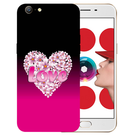 Flower Heart Printed Case Cover For OPPO A57 by Mobiflip