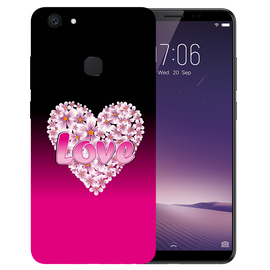 Flower Heart Printed Case Cover For VIVO V7 Plus by Mobiflip