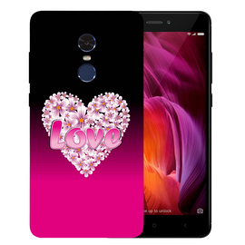 Flower Heart Printed Case Cover For Redmi Note 4 by Mobiflip