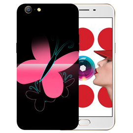 Pink Butterfly Printed Case Cover For OPPO A57 by Mobiflip
