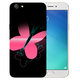 Pink Butterfly Printed Case Cover For OPPO F3 by Mobiflip