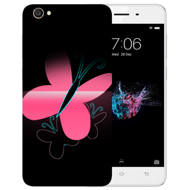 Pink Butterfly Printed Case Cover For VIVO Y55 by Mobiflip