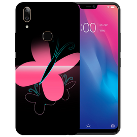 Pink Butterfly Printed Case Cover For VIVO V9 Youth by Mobiflip