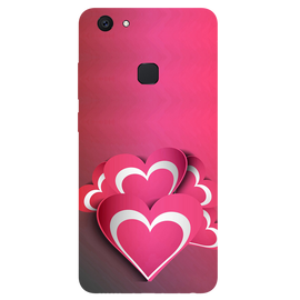 Pink White Hearts Printed Case Cover For VIVO V7 Plus by Mobiflip