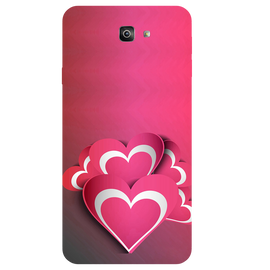 Pink White Hearts Printed Case Cover For Samsung J7 Prime 2 by Mobiflip