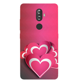 Pink White Hearts Printed Case Cover For Lenovo K8 Plus by Mobiflip