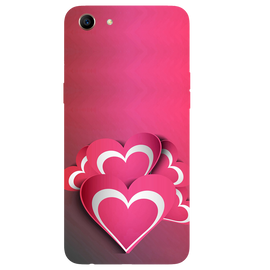 Pink White Hearts Printed Case Cover For OPPO A83 by Mobiflip