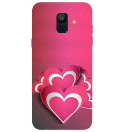 Pink White Hearts Printed Case Cover For Samsung A6 by Mobiflip