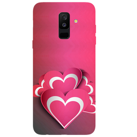 Pink White Hearts Printed Case Cover For Samsung A6 Plus by Mobiflip