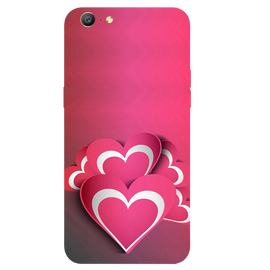 Pink White Hearts Printed Case Cover For OPPO A57 by Mobiflip