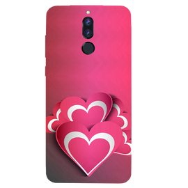 Pink White Hearts Printed Case Cover For HONOR P9I by Mobiflip