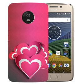 Pink White Hearts Printed Case Cover For Motorola G5 by Mobiflip