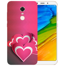Pink White Hearts Printed Case Cover For Redmi 5 Plus by Mobiflip