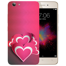 Pink White Hearts Printed Case Cover For VIVO Y53 by Mobiflip