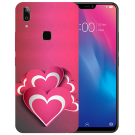 Pink White Hearts Printed Case Cover For VIVO V9 Youth by Mobiflip