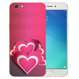 Pink White Hearts Printed Case Cover For OPPO F3 by Mobiflip