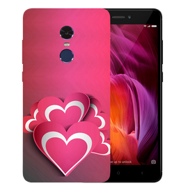 Pink White Hearts Printed Case Cover For Redmi Note 4 by Mobiflip