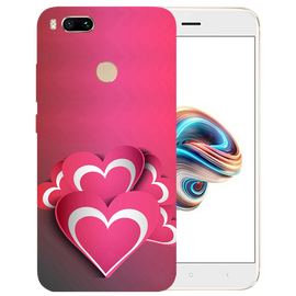 Pink White Hearts Printed Case Cover For Redmi MI A1 by Mobiflip