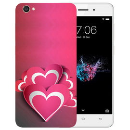 Pink White Hearts Printed Case Cover For VIVO Y55 by Mobiflip