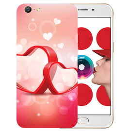 Red Hearts Printed Case Cover For OPPO A57 by Mobiflip
