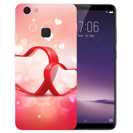 Red Hearts Printed Case Cover For VIVO V7 Plus by Mobiflip