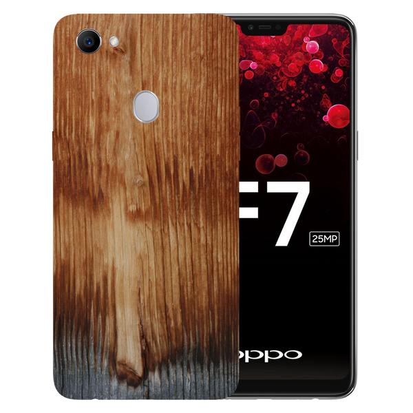 Wooden Art Printed Case Cover For OPPO F7 by Mobiflip