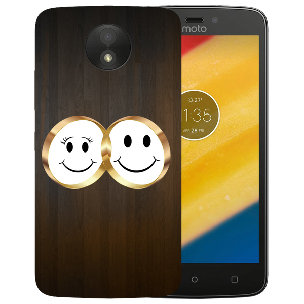 Smiling Face Printed Case Cover For Motorola C by Mobiflip