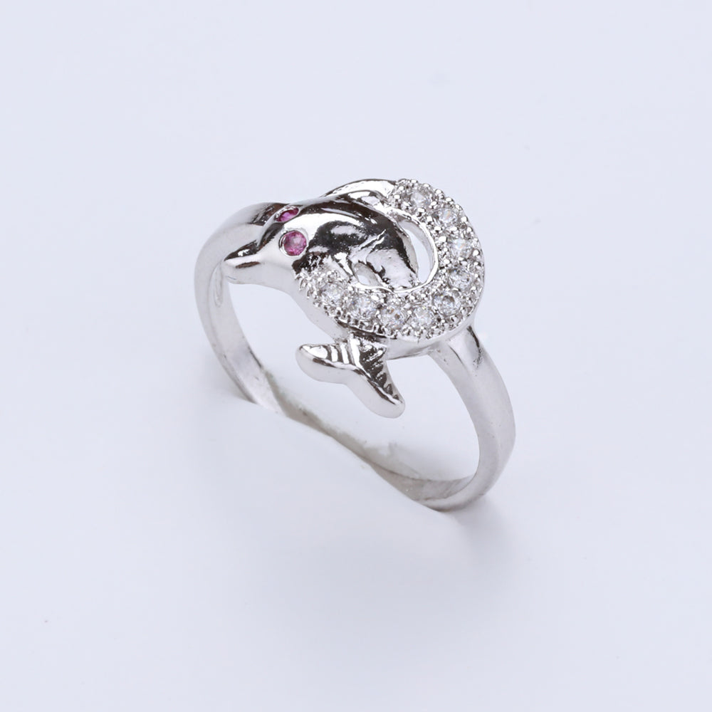 Antique Silver Plated Fish Designer Ring