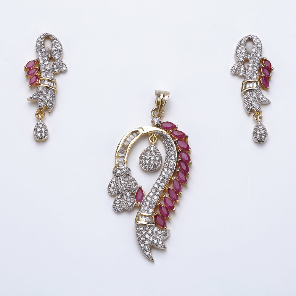Antique Silver Plated Pink Hook Shape Pendant Set with Earrings