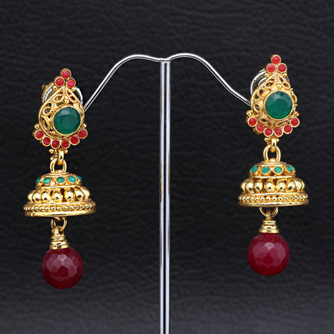 Antique Gold plated Jhumki with Green and Pink Beads