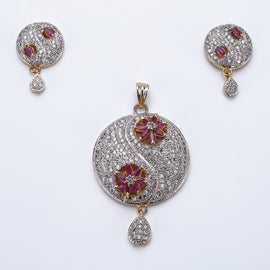 Antique Silver Plated Pink Flowers Pendant Set with Earrings
