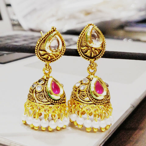 Antique Gold plated Jhumki with White AD Stone and Pink AD Stone