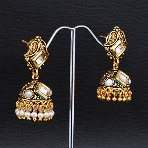 Antique Gold plated Jhumki with White AD Stone