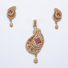 Antique Gold Plated Net Design Pendant Set with Earrings