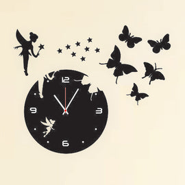 Antique Acrylic Butterflies n Angel Designer wall clock for Home and Office