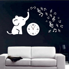 Antique Acrylic Baby Elephant Designer wall clock for Home and Office