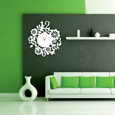 Antique Acrylic Flowers n Numbers Designer wall clock for Home and Office