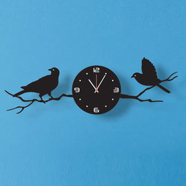 Antique Acrylic Birds On Tree Branch wall clock for Home and Office