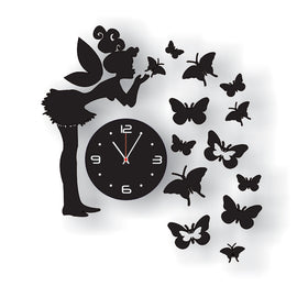 Antique Acrylic Butterflies n Girl Designer wall clock for Home and Office