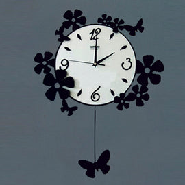 Antique Acrylic Butterfly n Flowers Designer wall clock for Home and Office